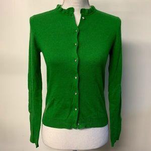 J Crew Green Dulphine Bling Button Cardigan